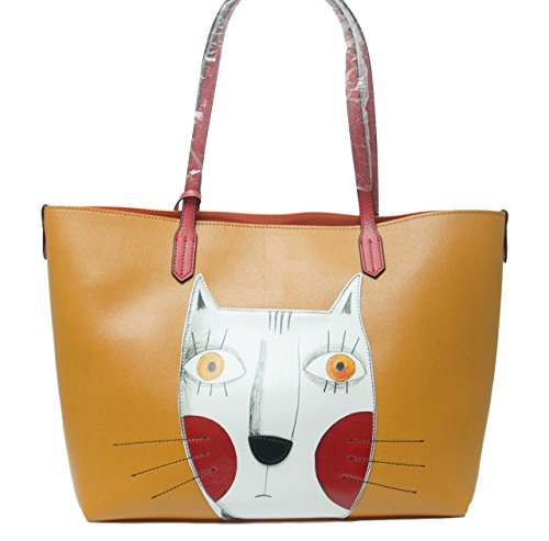 8e668ad43bf3 Cat Handbags for Women Leather Crossbody Cute Tote Shopping Purse Large  Shoulder Bag Orange - Buy Online in Oman.