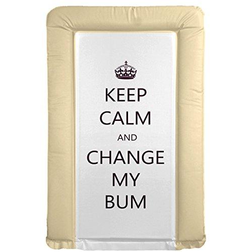 """It's A Baby Cambiador de bebé, diseño con mensaje """"Keep Calm and Change My Bum"""", color beige"""