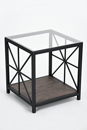 Vintage Dark Brown Glass Top Black Metal Frame Side End Table with Lower - Vintage Glass Frame