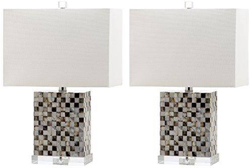 Safavieh Lighting Collection Thatcher Dark Green and Cream 21.5-inch Table Lamp (Set of 2) ()
