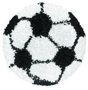Rug Market Shaggy Raggy Children's Area Shaped Rug, Soccer Ball