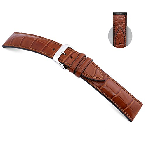 18mm RIOS1931 Cognac Monarch - Genuine Alligator Watch Band with Genuine Alligator Backing 114x82 by Panatime