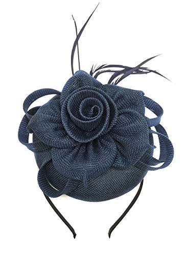 Fascinator Sinamay Rose Flower Pillbox hat Headband Tea Party Kentucky Derby (G Dark Navy Blue)
