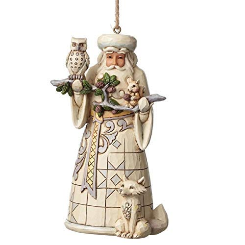 (Jim Shore for Enesco 4050011 Heartwood Creek Woodland Santa Ornament, 4.75