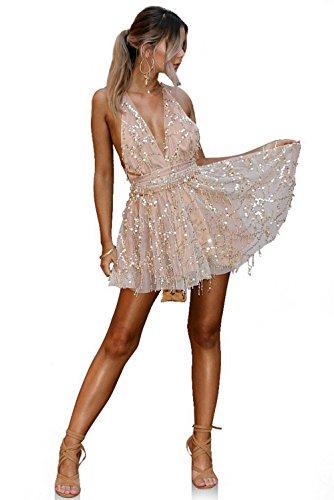 (Joeoy Women's Gold Sexy Deep V-Neck Backless Spaghetti Strap Sequin Dress Clubwear Party Mini Dress-S)