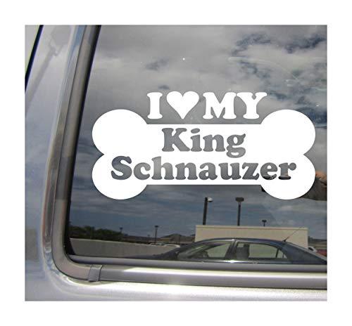 I Heart Love My King Schnauzer - Dog Bone Miniature Cavalier King Charles Spaniel Designer Mixed Hybrid Breed Cars Trucks Moped Auto Automotive Craft Laptop Vinyl Decal Store Window Wall Sticker 13556 ()