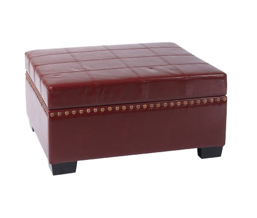 Avenue Six Detour Multipurpose Storage Ottoman with Tray in Eco Leather Fabric, Cherry