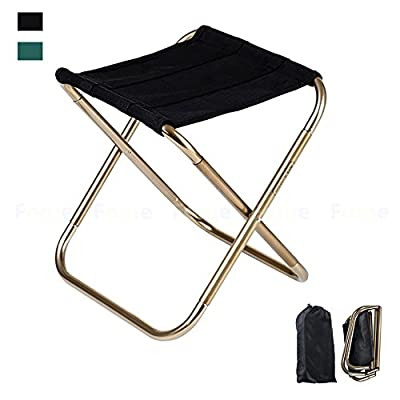 Folding Chair,FOME SPORTS OUTDOORS 420D Nylon 7075 Aluminum Alloy Camping Chair Portable Folding Stool Camping Stool Fish Chair with Pouch 9.4x5.5in for Travel Camp Fishing Picnic Max load 165lbs