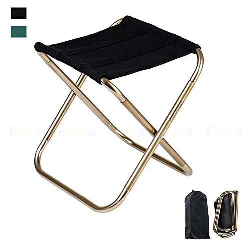 Folding Chair,FOME SPORTS|OUTDOORS 420D Nylon 7075 Aluminum Alloy Camping Chair Portable Folding Stool Camping Stool Fish Chair with Pouch 9.4x5.5in for Travel Camp Fishing Picnic Max load 165lbs