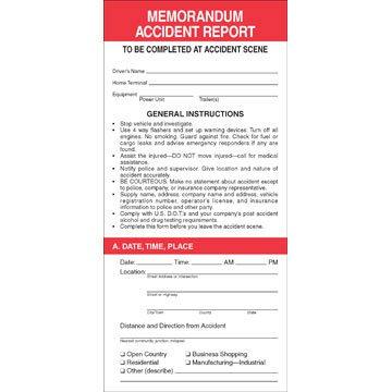 Memorandum Accident Report (Qty: 100 Units)