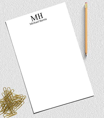 Monogram notepad, Personalized notepad set, notepad personalized gift, 50 sheets, 5.5x8.5 -