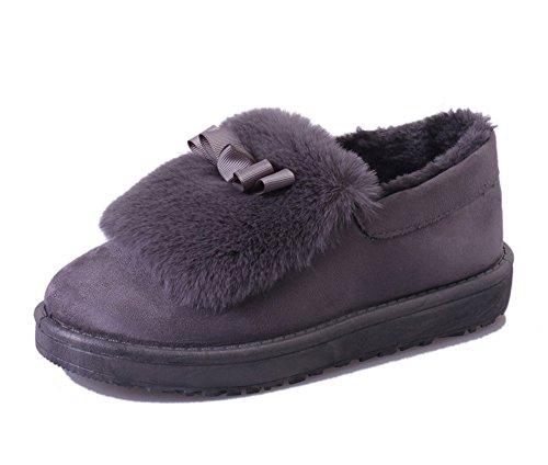 Fortunings JDS Señoras de las mujeres Invierno impermeable antideslizante peludo terciopelo termal de algodón botas madre zapatos botas para la nieve Gris