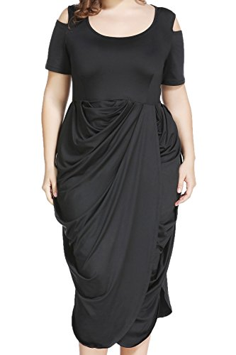 Plus Size Half Sleeve Asymmetrical Draped Ruched Midi Dress for Cocktail Formal Evening, Black, 18 Plus]()