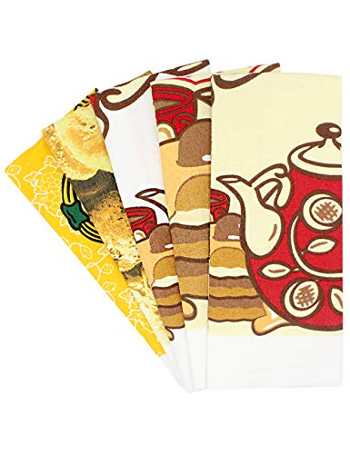 Kitchen towels and Dishcloths Sets of 5, Dish Towels and Tea Towels, 100% Cotton, 15 x 25 inches from HappyBear