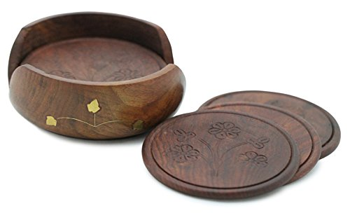 4.5 x 4.5 x 1.8 Inches SouvNear SG-SNPR-057 Wood Set with 6 Table Coaster Brown