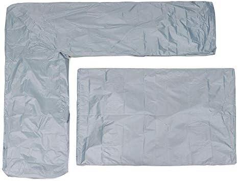 ガーデンテーブル カバー 2つの小品/セットのL字型コーナーソファ防水カバーガーデンテラス屋外用家具テーブルとチェアの保護折り畳み式ストレージ 防水 防塵 多機能 家具カバー (色 : グレー, Size : 200cm)