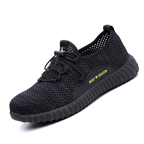 UPSTONE Indestructible Work Shoes Mens, Mesh Breathable Lightweight Comfortable Steel Toe Safety Industrial Construction Slip Resistant Shoes, 125 Black 36