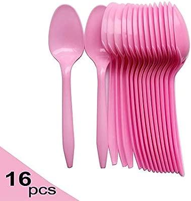 SAKUROO 16Pcs por Paquete Vajilla de plástico Rosa Cuchara ...