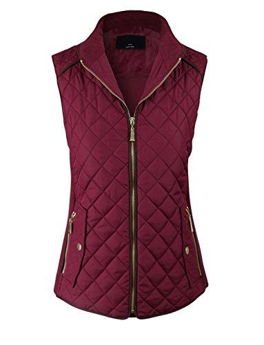 makeitmint Women's Basic Solid Quilted Padding Jacket Vest w/ Pockets Large YJV0002_Burgundy