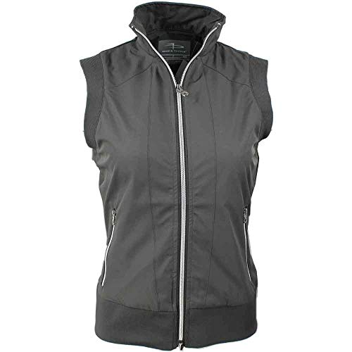 (PAGE & TUTTLE Womens Piped Vest Golf Athletic Outerwear Vest Grey S)