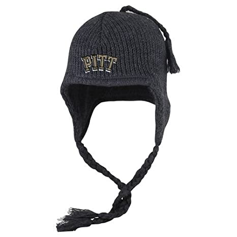 18865916c7fe4 Pitt Panthers Knit Winter Hat with Ear Flaps Charcoal - Charcoal Heather  Gray