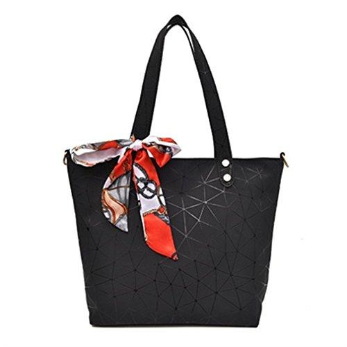 Women Tote Bag Geometry Sequins Mirror Saser Plain Folding Woman Shoulder Bags Black 37x27x9cm