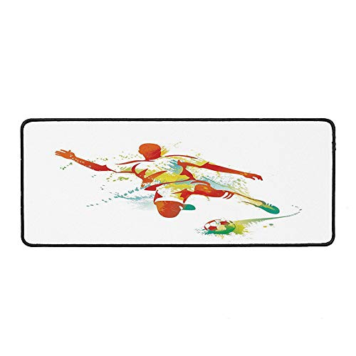 Sports Decor Ordinary Mouse Pad,Soccer Player Kicks The Ball Competitions Paint Splashes Speed Boots Art for Computers Laptop Office & Home,15.75''Wx35.43''Lx0.12''H