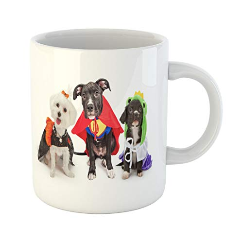 Semtomn Funny Coffee Mug Three Cute Little Puppy Dogs Dressed Up in Halloween 11 Oz Ceramic Coffee Mugs Tea Cup Best Gift Or Souvenir]()