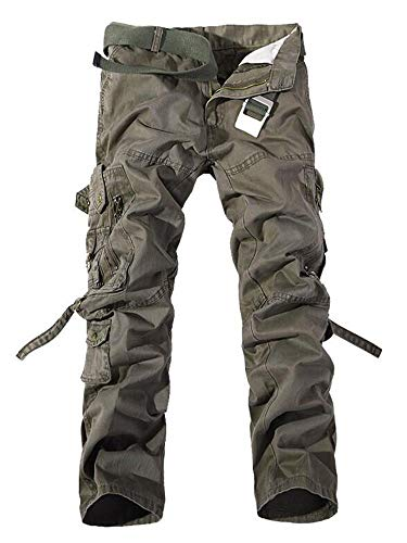 - AKARMY Men's Cotton Casual Military Army Cargo Camo Combat Work Pants K03 ArmyGreen 36