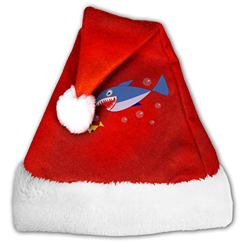 (FGHJKL Sharks Clipart Border Plush Santa Hat Comfortable Double Thick Plush Red Velvet)