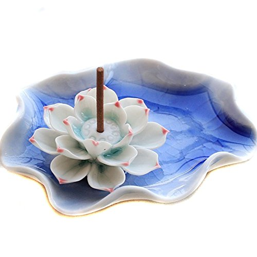CTKcom Single-Hole Lotus  Water Lily Flower Plate  Artistic Incense Holder Burner Ashtray Ceramic china Handmade Spot Lotus Design