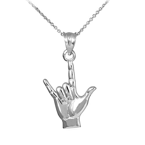 925 Sterling Silver I Love You Hand Sign Language Charm Pendant Necklace, 22