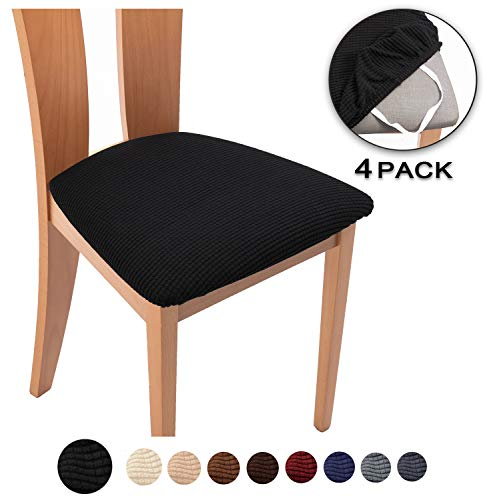 TIANSHU Spandex Jacquard Dining Room Chair Seat Covers,Removable Washable Elastic Cushion Covers for Upholstered Dining Chair (4 Pack, Black)