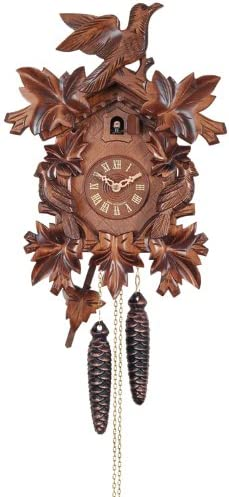River City Clocks One Day Cuckoo Clock with Seven Hand Carved Leaves and Three Birds