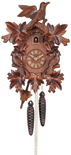 River City Clocks One Day Cuckoo Clock with Seven Hand Carved Leaves and Three ()