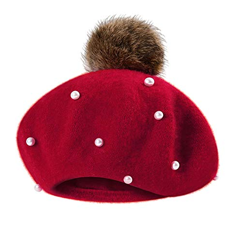 ZTY66✿ Baby Kid's Beading Pompon Classic French Style Beret Beanie Hat (Red)