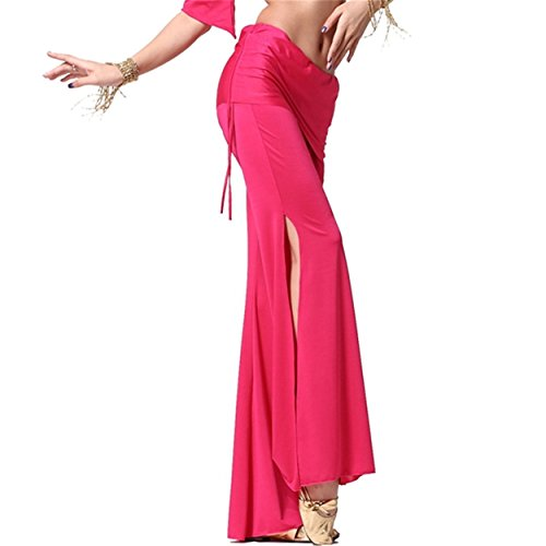 Mujeres Ladies Dance Pantalones Elastic Trousers Lycra Pantalones Dancewear Side Slit Culottes Dark Pink