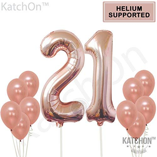 Rose Gold 21 Birthday Balloons Large Pack Of 12