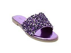 Glitter Bling Slide Flat Low Wedge Purple Sandal