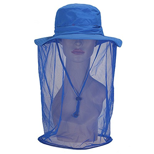 Ezyoutdoor Women Outdoor Double-use UPF 50+ Adult Sun Hat Outdoor Anti-mosquito Mask Hat with Head Net Mesh for Fishing Hunting Camping Swimming Hiking,Medium Size(Blue) (Strike King Lure Company Hat compare prices)