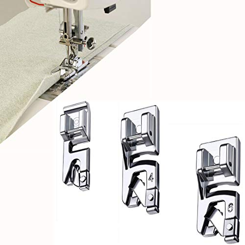 (Windman 3 Sizes Rolled Hem Foot with PDF Manual 3 mm, 4 mm, 6 mm Rolled Hem Presser Foot Singer Brother Hem Foot Low Shank Machine Hemming Light Fabrics)
