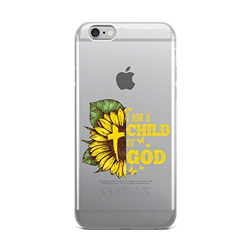 iPhone 6 Plus/6s Plus Pure Clear Case Crystal Clear Cases Cover I Am A Child of Hippie God Christian Sunflower Transparent