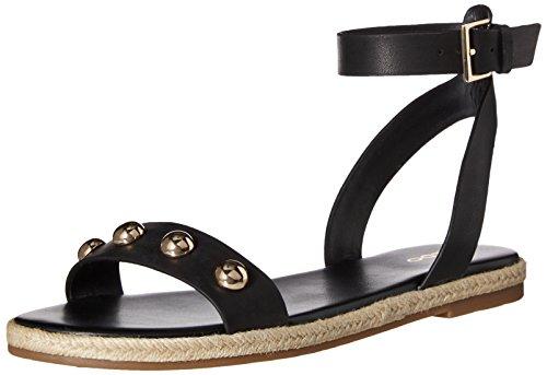 ALDO Women's Alaeniel Flat Sandal, Black Leather, 9 B US