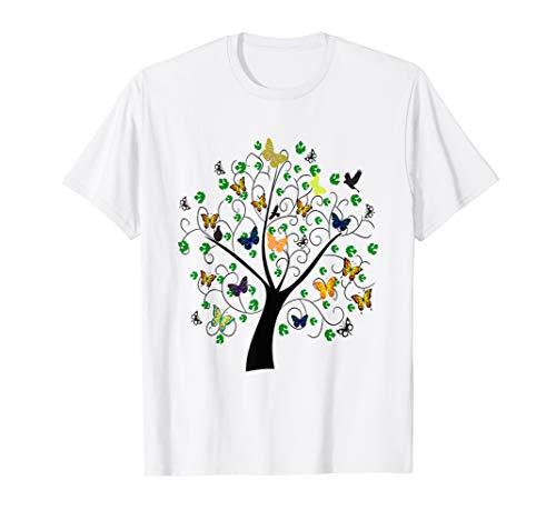 Butterflies in a tree t-shirt women (Butterfly T-shirt White Blue)