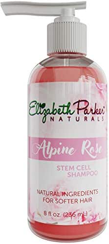 Organic Rose Oil Shampoo Sulfate Free - with Rose Water and Stem Cell Extract - Natural Vegan Moisturizer for Curly, Color Treated and Damaged Hair - Hydrating Cleanser for Smooth and Shiny Hair (8oz)