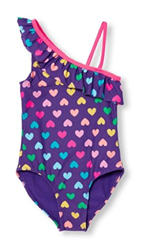 The Children's Place Little Girls' Assymetrical One-Piece Swim Suit, Royal Purple, XS (4) by The Children's Place