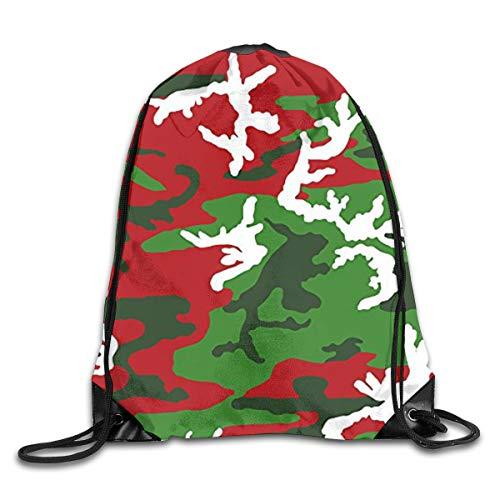 Christmas Woodland Camo Drawstring Bag Tote Gym Sack Cosmetic Bag Backpack Lightweight Bundle Pocket for Christmas Party Travel