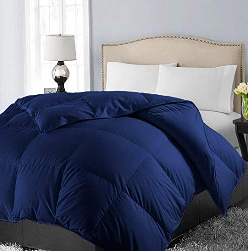 Hemau Twin Soft Down Alternative Quilted Comforter Hotel Collection Reversible Duvet Insert with Corner Tab,Warm Fluffy Hypoallergenic for All Season,Navy,64 by 88 Inches | Style 503192344