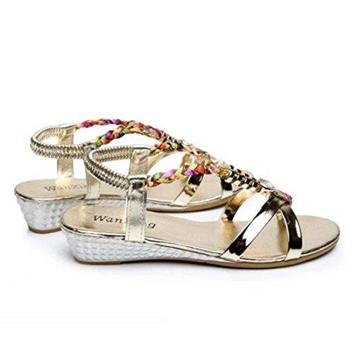 zu heels Kein schuhe sandale schöne Lässige flache Reiben um flache Sandalen frauen Gold Frauen Sandalen flop keile die Böhmen Sommer schuhe bequem Fußzehen tragen flip knöchel sind schuhe TU6qWYFwff
