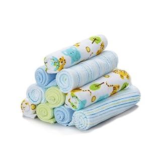 Spasilk 10 Pack Soft Terry Bath Washcloths  – Newborn Boy or Girl – Baby Shower Gift, Blue Tiger